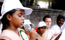 A girl rise to speak at the Children's Congress in Chennai, India. (Source: Kindernothilfe)